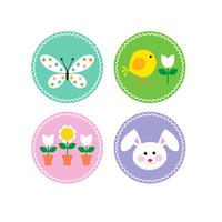 Ícones de círculo de Páscoa com chick e flores de coelho