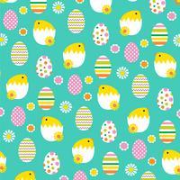 chocando Páscoa pintos e ovos fundo padrão vetor