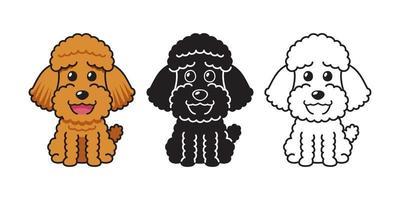 conjunto de desenho vetorial de cão poodle vetor