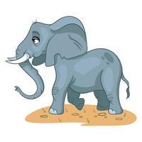 elefante engraçado personagem animal no estilo cartoon. vetor