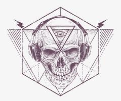 Arte do crânio de Dotwork vetor