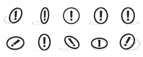 Ilustração do ícone 3d de ponto de exclamação preto com diferentes visualizações vetor