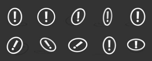 Ilustração do ícone 3d de ponto de exclamação branco com diferentes visualizações vetor