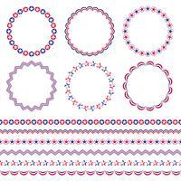 Quadros de círculo vermelho branco e azul e fronteiras