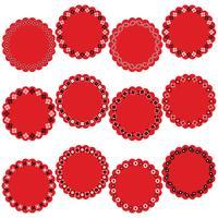 rótulos de quadro de círculo de bandana preto vermelho vetor
