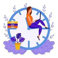 mulher sentada setas do relógio vetor