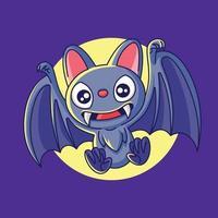 feliz Dia das Bruxas. desenho animado bonito morcego com dentes grandes e orelhas grandes voando vetor