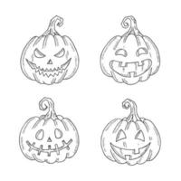 conjunto de halloween de lâmpada jack monocromática em estilo de desenho vetor