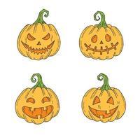 conjunto de halloween de jack lamp colorido em estilo de desenho vetor