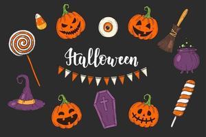Halloween conjunto de ícones coloridos de Halloween desenhados à mão vetor