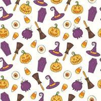 padrão sem emenda com ícones coloridos de halloween. no estilo de desenho. vetor