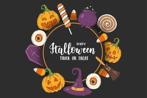 pôster de saudação de halloween com ícones desenhados à mão vetor