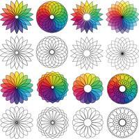 roda de cores flores clipart gráfico vetor