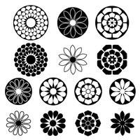 formas de flor preta silhueta vetor