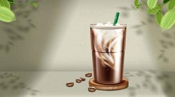 Café com leite gelado em copo de plástico na parede e fundo de folhas. vetor