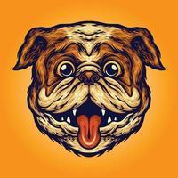 Ilustrações engraçadas do mascote do cão com cabeça de pug vetor