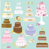 gráficos de clipart de bolos de casamento vetor