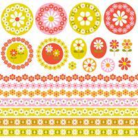 quadros florais de círculo retro e fronteiras clipart