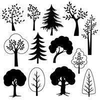 silhuetas de árvores vetor