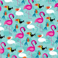 padrão de fundo de pássaros tropicais
