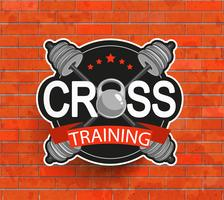 Emblema crosstraining denominado retro. vetor