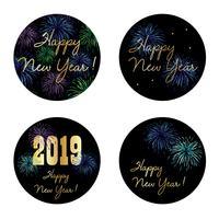 véspera de ano novo 2019 círculo gráficos vetoriais com fogos de artifício vetor