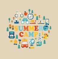Férias de verão e viagens temáticas. vetor