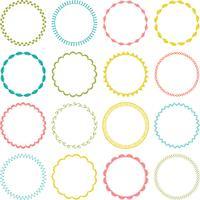quadros de círculo de ponto de bordado vetor