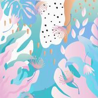Selva tropical folhas e flores de fundo. Design de cartaz tropical colorido vetor