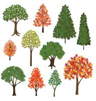 árvores desenhadas à mão vetor