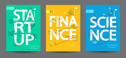 Infografia de arranque, ciência, finanças.
