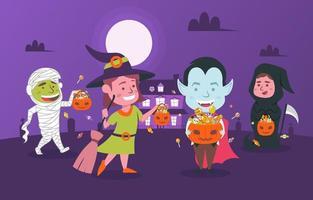 truques ou travessuras personagens de halloween vetor