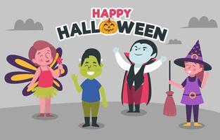 personagens de festa com fantasia de halloween vetor