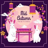 cartão comemorativo do festival do meio do outono vetor
