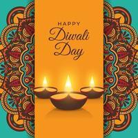 festa do dia de diwali com mandala vetor