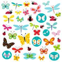 clipart de borboleta e joaninha vetor