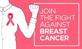 Câncer de mama. Junte-se ao banner de luta vetor
