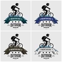 Design de logotipo de ciclismo de montanha. vetor