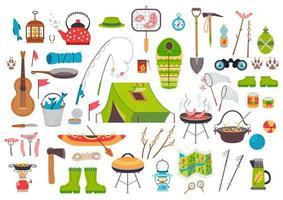 uma coleção de equipamentos de camping. conjunto de viagens de vetor