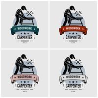 Design de logotipo de carpinteiro. vetor