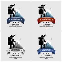 Design de logotipo de aventura mochileiro Explorer. vetor