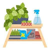mesa com vasos de plantas, um borrifador, sacos de solo e fertilizante. vetor