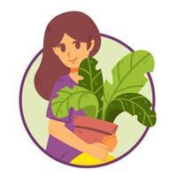 menina cuidar de plantas de casa. vetor