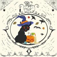 quadro vintage gato bravo e vela de halloween vetor