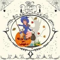 bruxa de quadro vintage sentada em uma abóbora de halloween vetor
