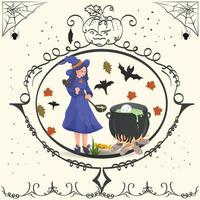 bruxa vintage prepara poção de halloween vetor