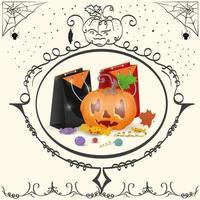 moldura de abóbora vintage com bolsas feriado de halloween vetor