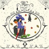 bruxa vintage sentada em um caldeirão, feriado de halloween vetor