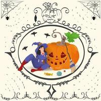 moldura vintage uma bruxa sentada perto de uma abóbora de halloween vetor