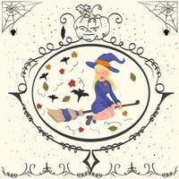 bruxa vintage voando em uma vassoura no dia das bruxas vetor